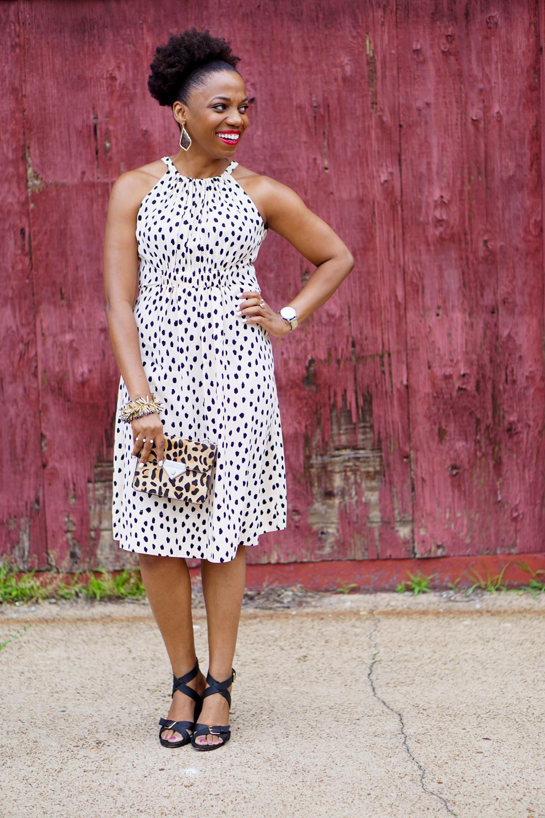 Kate Spade leopard dot tie back dress 9c