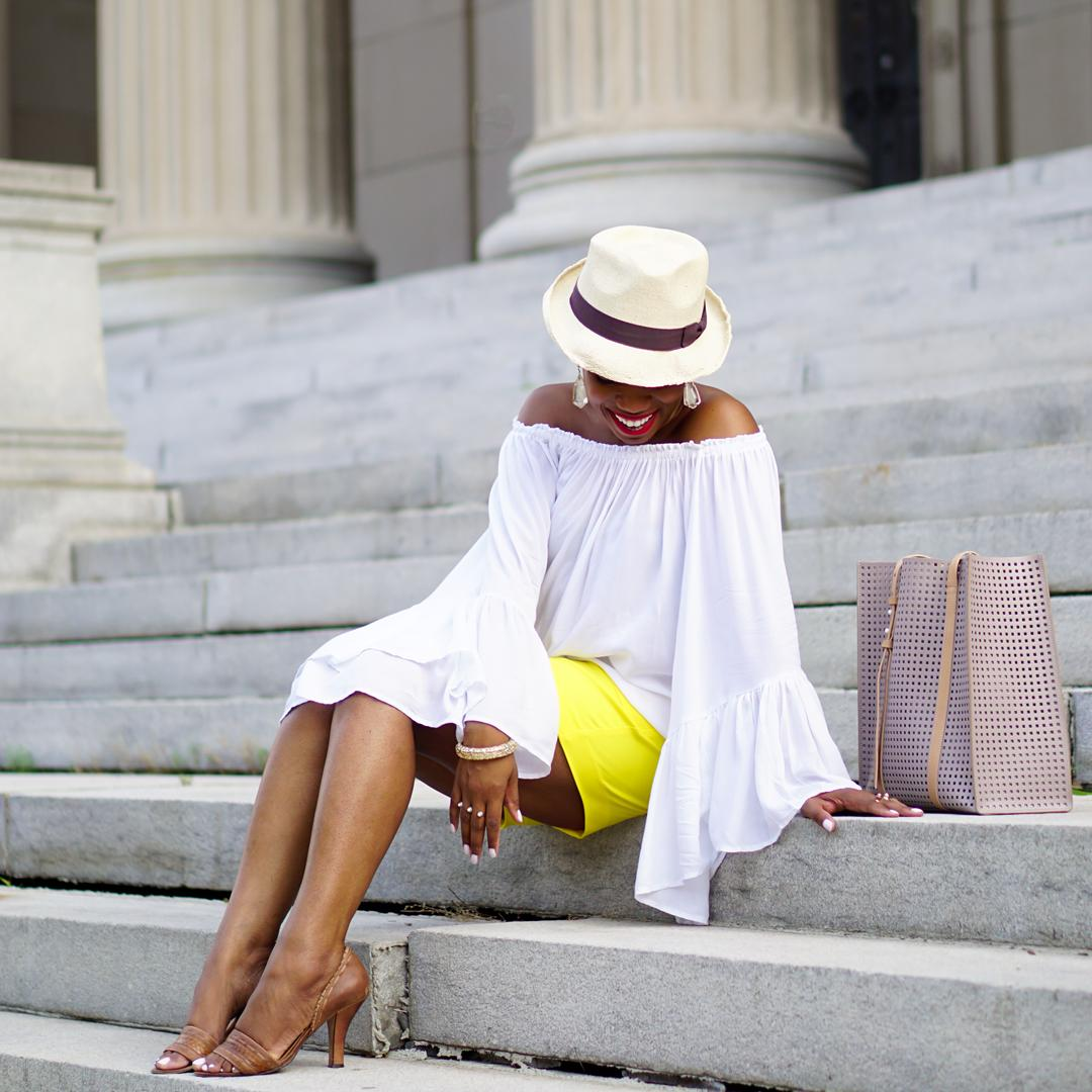 Lemonade-yellow shorts, Loft patch pocket riviera shorts, Venus flutter sleeve cover-up 11c2