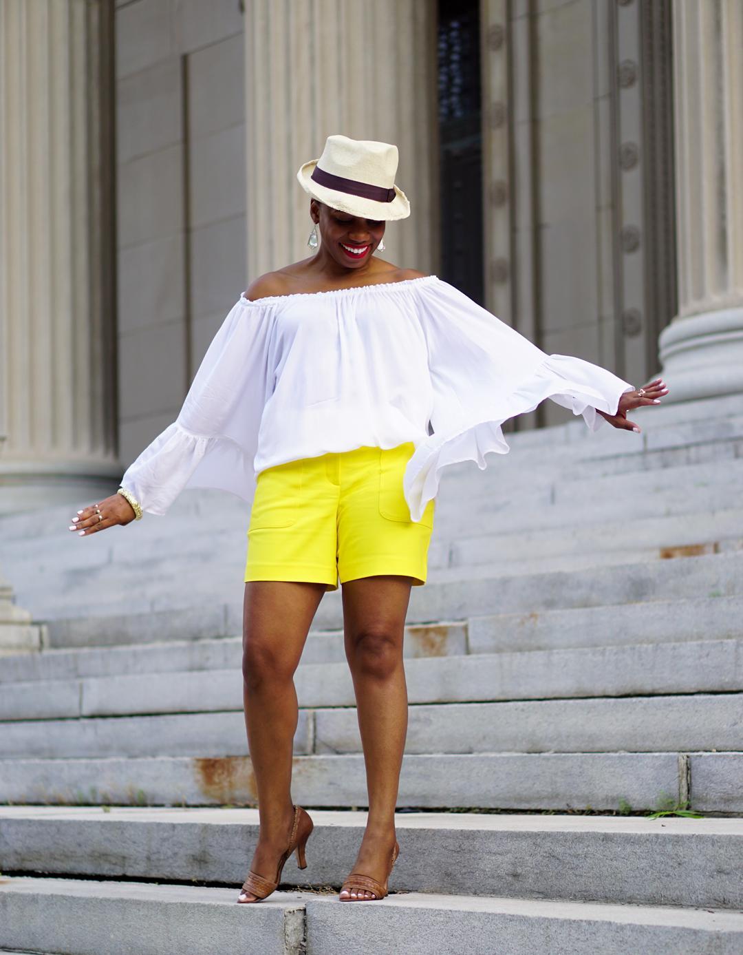 Lemonade-yellow shorts, Loft patch pocket riviera shorts, Venus flutter sleeve cover-up 2c2