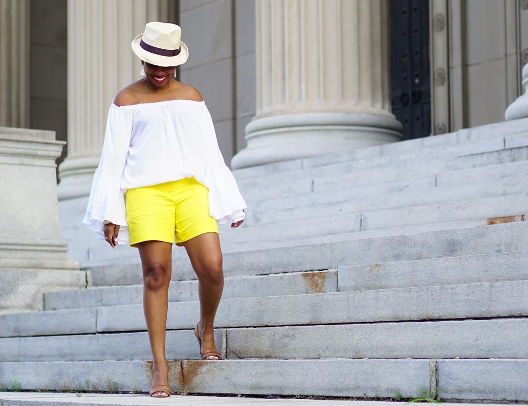 Lemonade-yellow shorts, Loft patch pocket riviera shorts, Venus flutter sleeve cover-up 3c