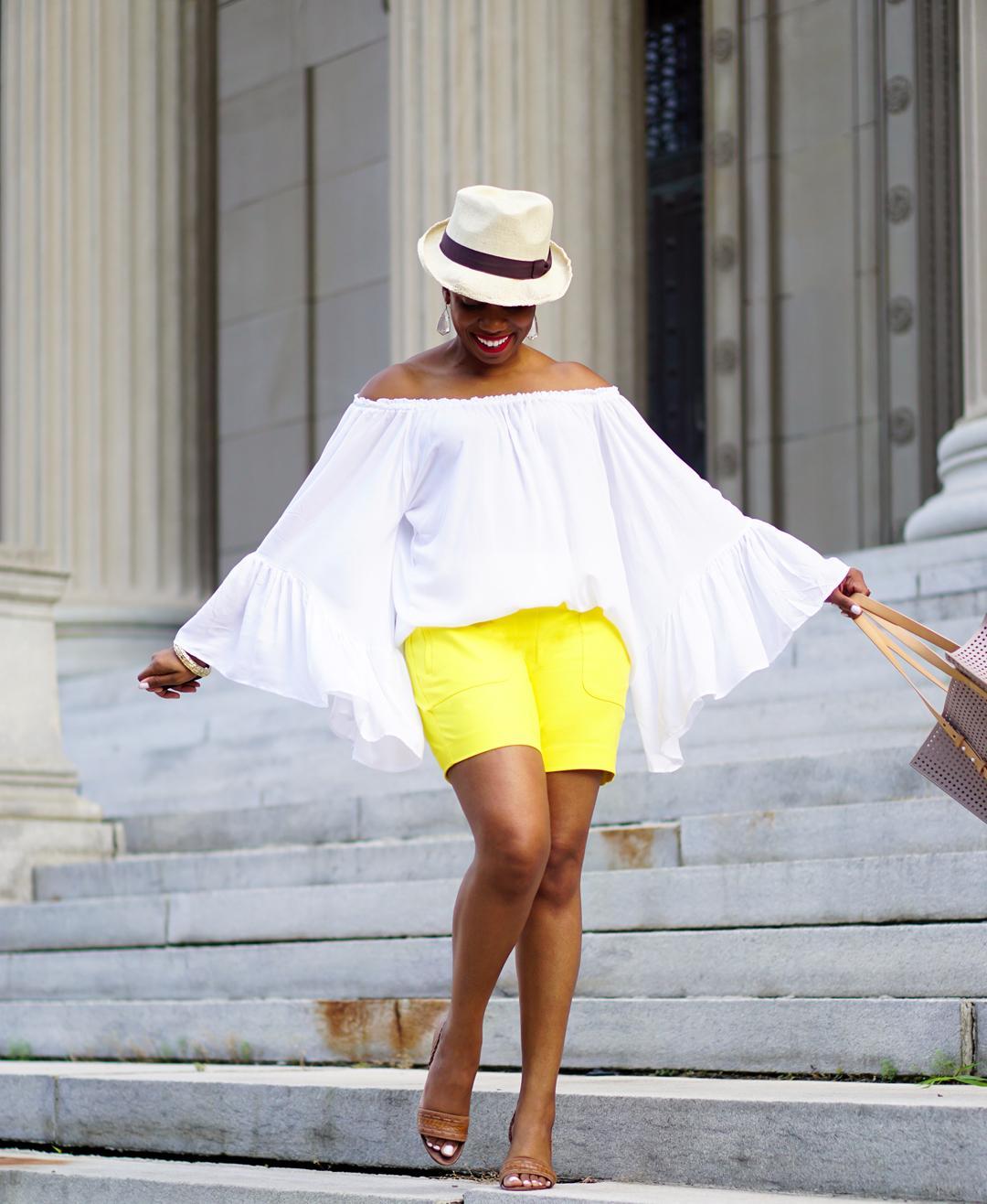 Lemonade-yellow shorts, Loft patch pocket riviera shorts, Venus flutter sleeve cover-up 6c2