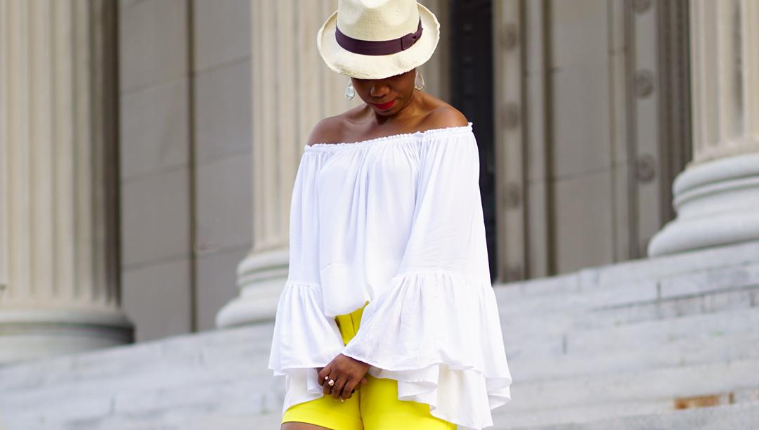 Lemonade-yellow shorts, Loft patch pocket riviera shorts, Venus flutter sleeve cover-up 7c2