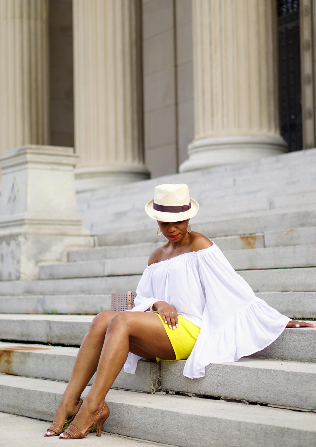 Lemonade-yellow shorts, Loft patch pocket riviera shorts, Venus flutter sleeve cover-up 9c