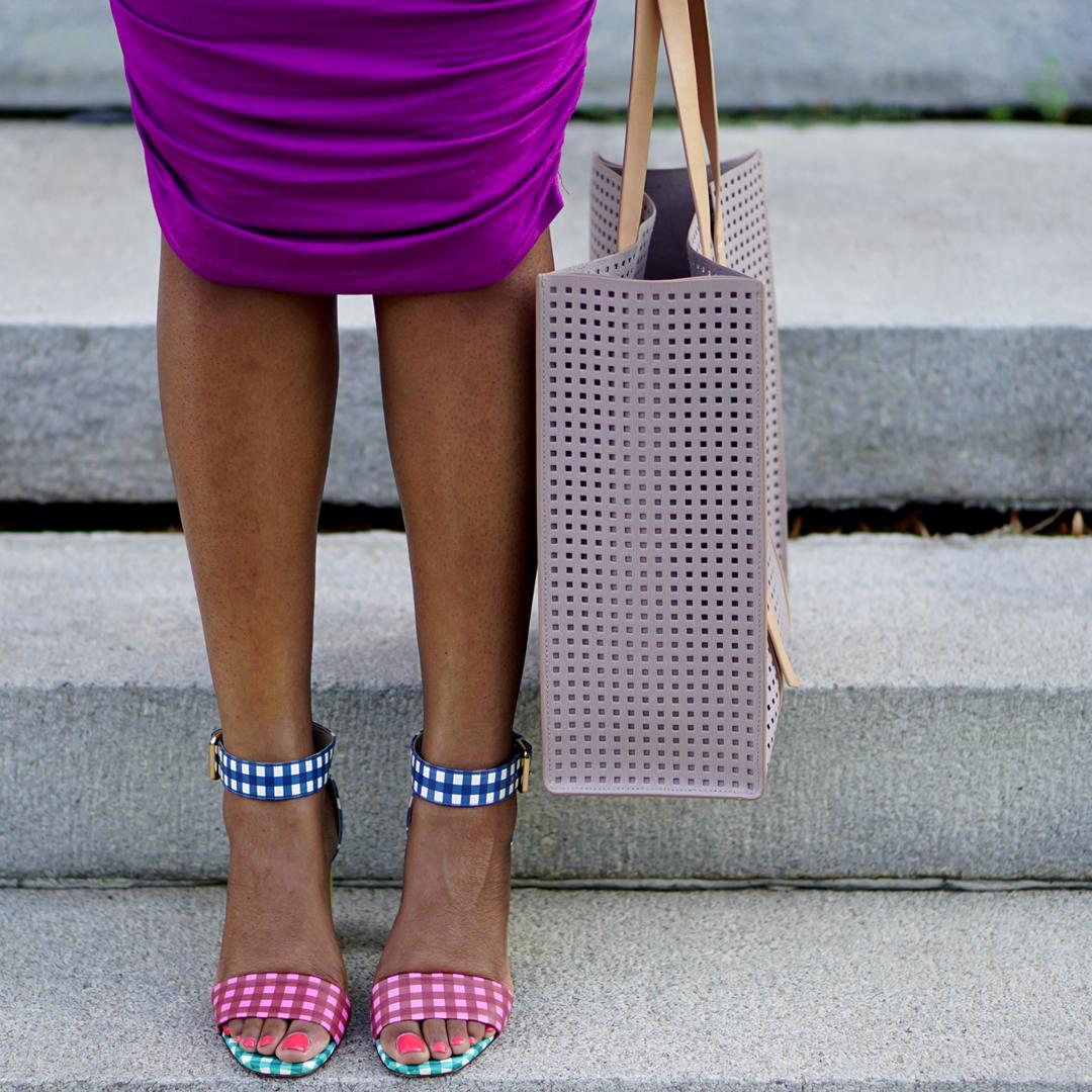 J.Crew COLLECTION LEATHER HIGH-HEEL SANDALS IN MIXED GINGHAM