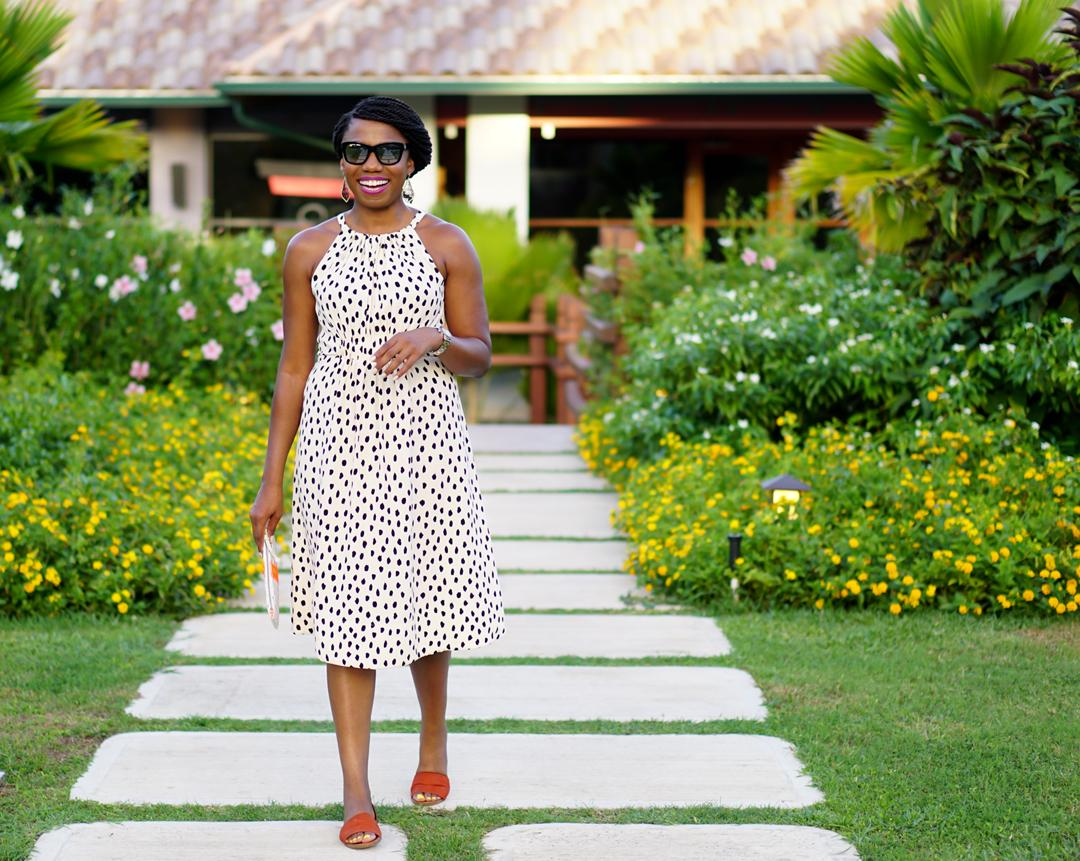 Resort evening attire, Kate Spade leopard dot tie back dress, Sandals Grande St. Lucian