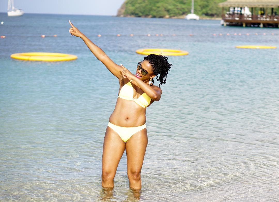 Sandals Grande St Lucian, Venus sunny yellow bikini 8c
