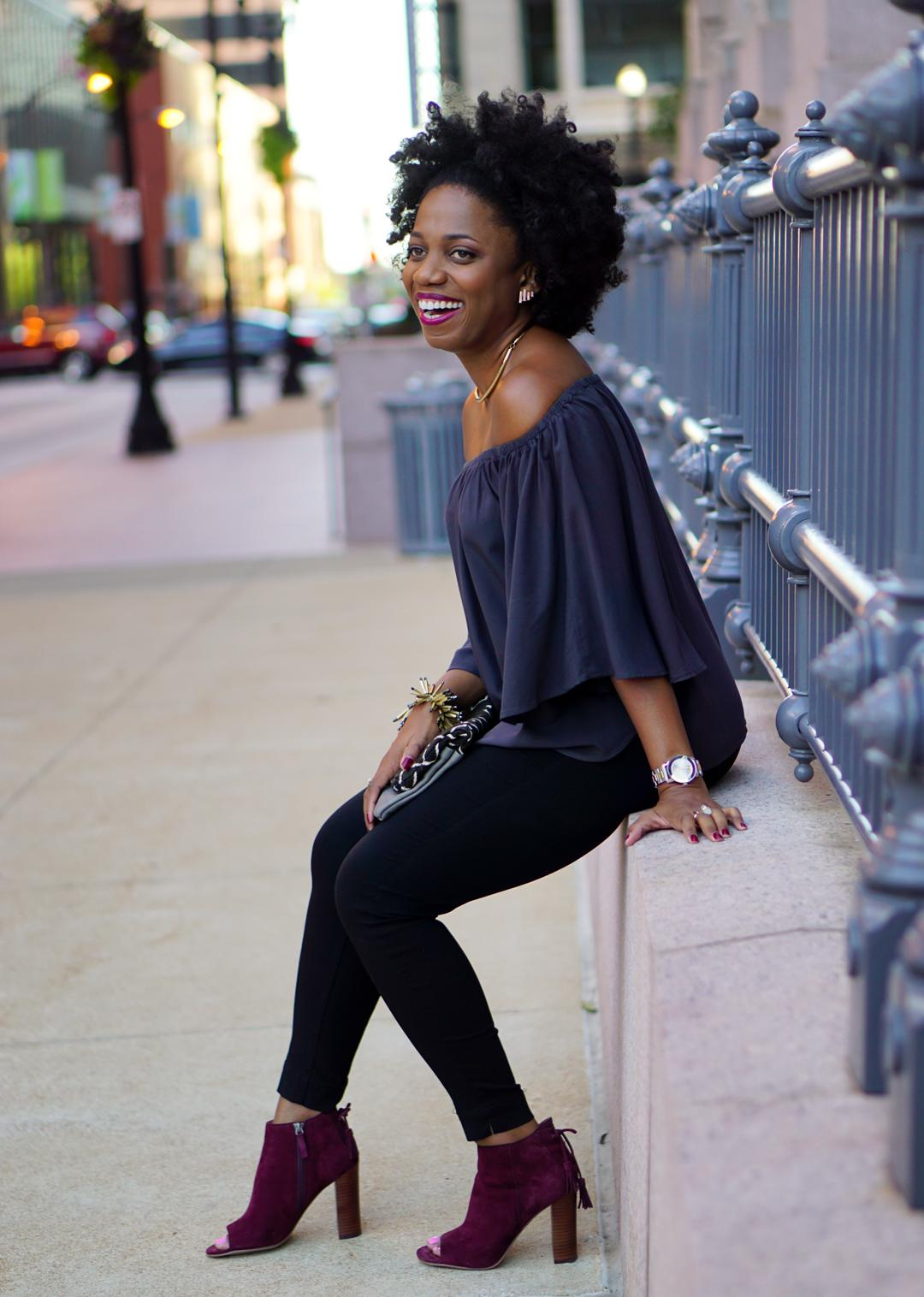 A Swingy Off-The-Shoulder Top In A Perfect Gray