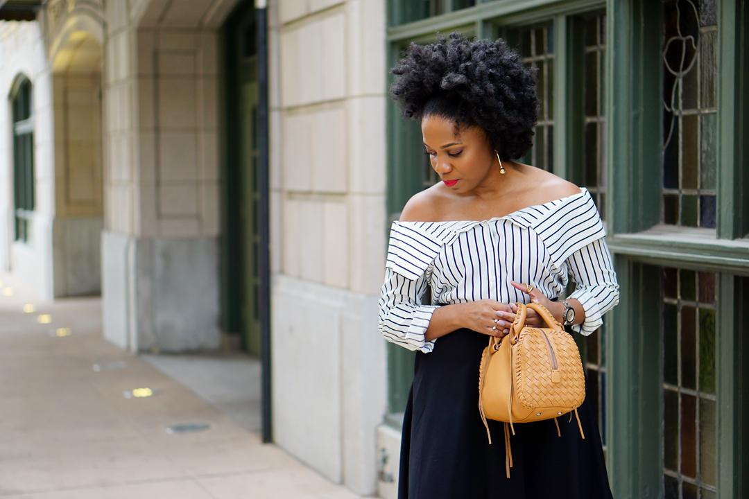 Off-the-shoulder button-up