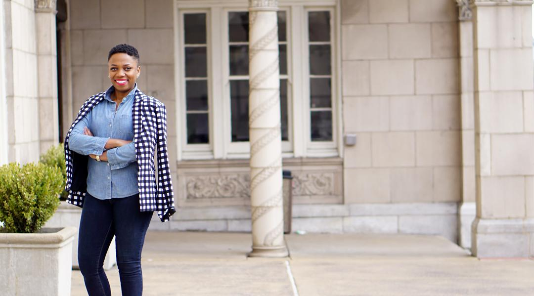 Double Denim with a Fun Gingham Twist