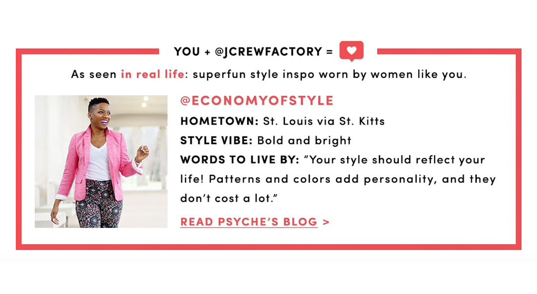 Economy of Style Featured by J.Crew Factory