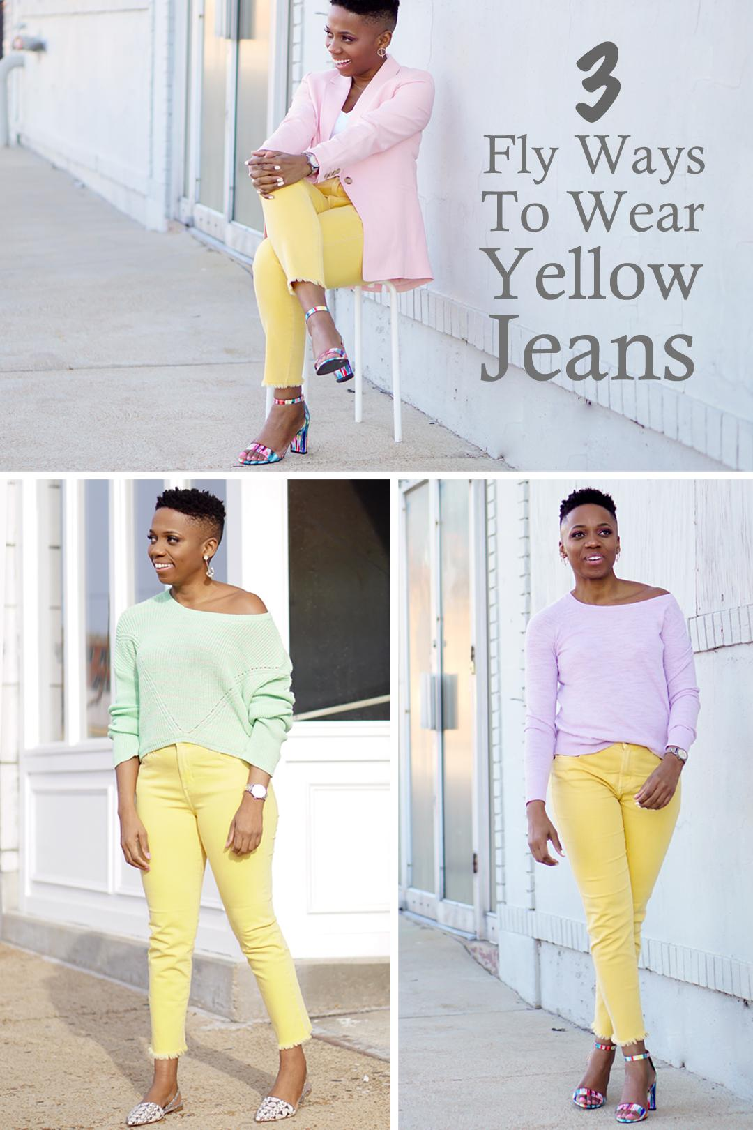 3 ways wear yellow jeans