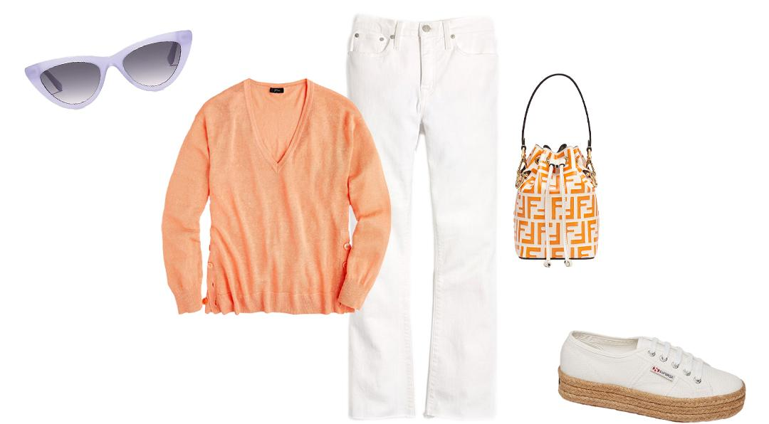A Super Chic White Sneaker Outfit For Spring