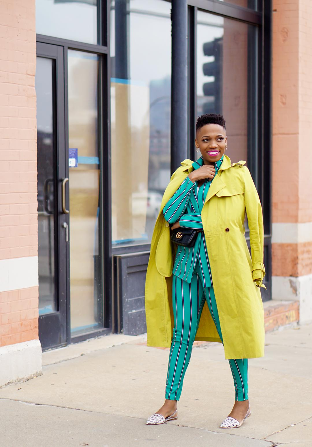 green stripe pant suit