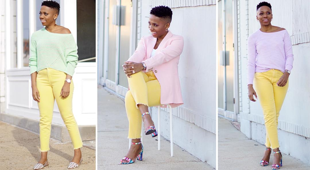 How To Wear One Pair Of Yellow Jeans 3 Ways